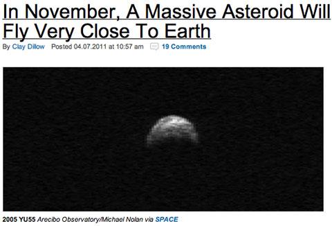 2011年11月8日、巨大な小惑星が地球に超接近!