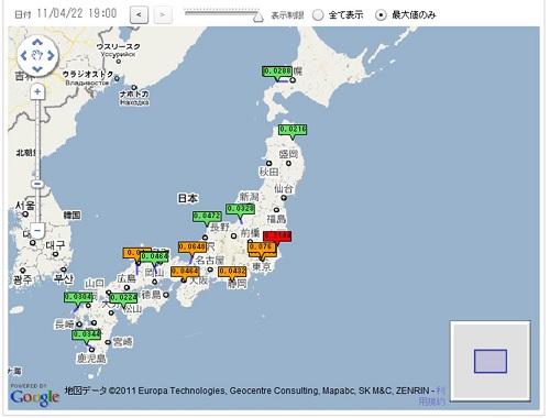 1時間ごとに全国の放射線量が把握できるサイト「全国のリアルタイム放射線量マップ(速報版)」