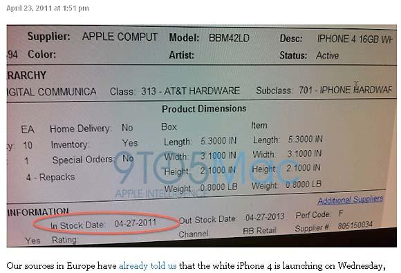 iPhone4のホワイトが4月27日に発売開始される!?