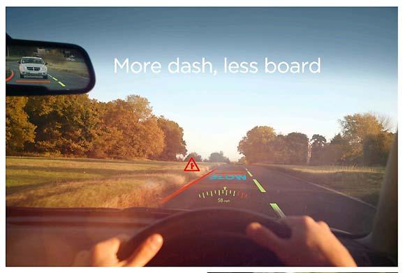 車の計器類はもういらない、フロントガラスにメーターを映す