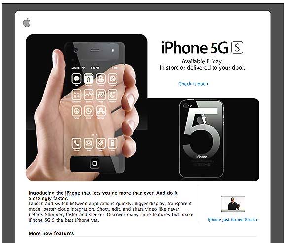 アップルを騙るスパムメールに注意 / 「今週金曜日(5月27日)にiPhone5GS発売開始」という内容