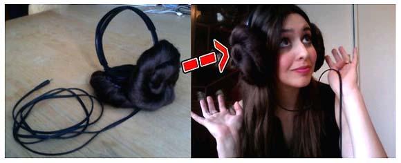 これであなたもレイア姫、ぐるぐる髪の毛付きのヘッドフォン