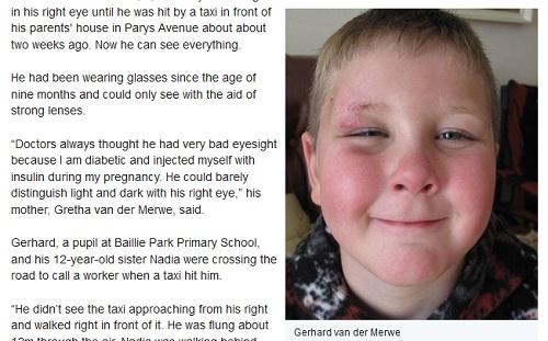 奇跡!交通事故により視力を回復した少年