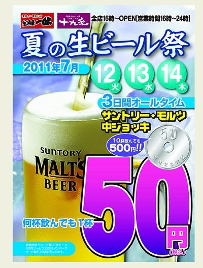 【激安速報】 とある居酒屋チェーンが生ビール1杯を50円で販売するぞー!