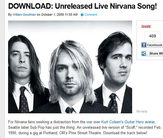 ニルヴァーナの未発表曲が無料で試聴&ダウンロードできるぞ!