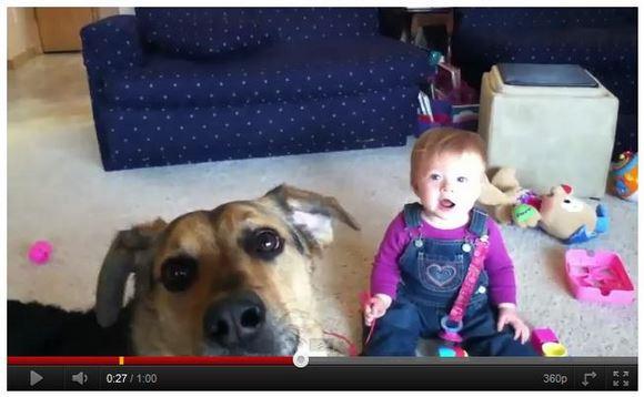 これを見ればあなたも笑顔! 最強キュートコンビ「わんこ+赤ちゃん」の動画が可愛すぎて話題に
