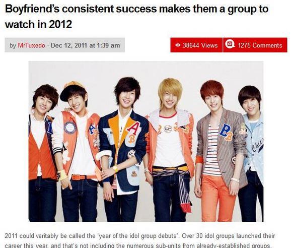 英語圏K-POPサイトが2012年期待の韓国アイドルグループとして「BOYFRIEND」を紹介!