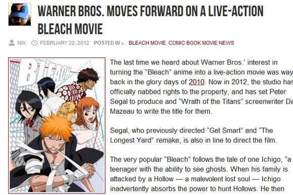 【実写】ハリウッド版『BLEACH』の制作が本格始動と報じられる / ネットユーザー「なん……だと……?」