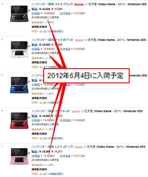 アマゾンで「ニンテンドー3DS」品切れ続出! しかも全色6月4日に入荷予定!! これはもしや……