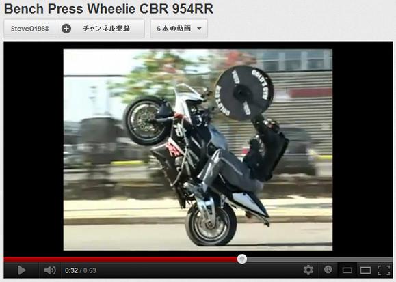 なんだかよくわからんがスゴい! 大型バイクでウイリー走行しながらバーベルを持ち上げるワイルドすぎる男