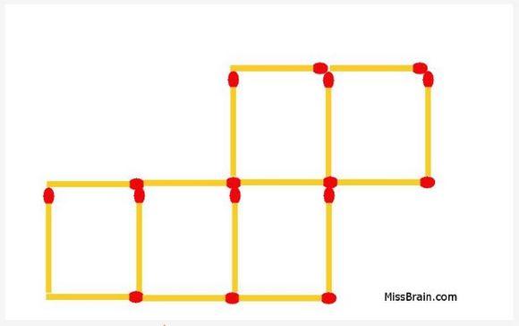 【頭の体操クイズ】マッチ棒を2本動かして、5つの正方形を4つにして下さい