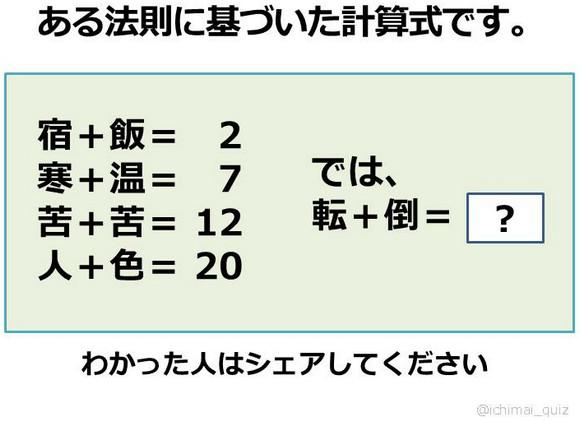 【クイズ】「転+倒=」の答えは何? 漢字+漢字=数字の計算式が話題に