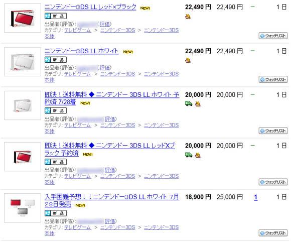 7月28日に販売開始の「ニンテンドー3DS LL」が早速ヤフオクに登場! 1万8900円の商品がなんと2万5000円に