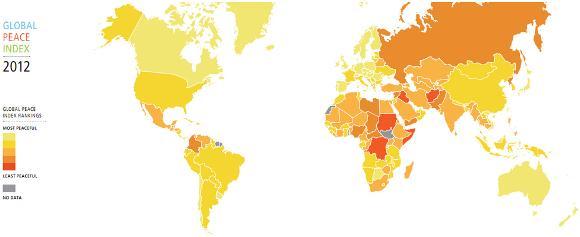 「世界平和な国ランキング」発表! 日本は堂々の5位 /  韓国42位、中国89位、北朝鮮152位、ロシアは153位