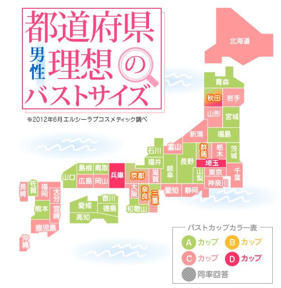 【ちっぱい速報】47都道府県別「理想のバストサイズ」判明 / 全国的に「Aカップ」が支持されている!!
