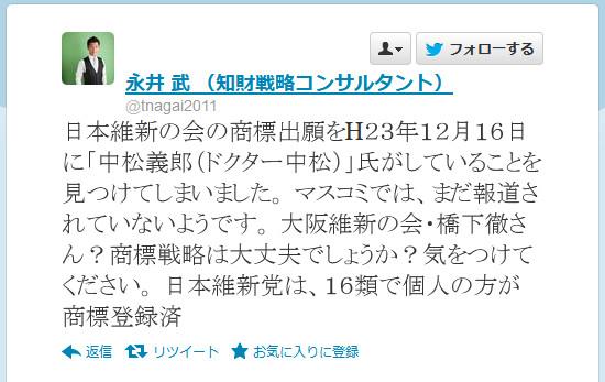 ドクター中松が「日本維新の会」を商標出願していた! ネットユーザー「さすがドクターw」「でかした」