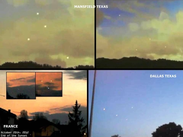 【衝撃UFO動画】2012年10月20日にアメリカとイギリスとフランスで同じようなUFOの編隊飛行が撮影される