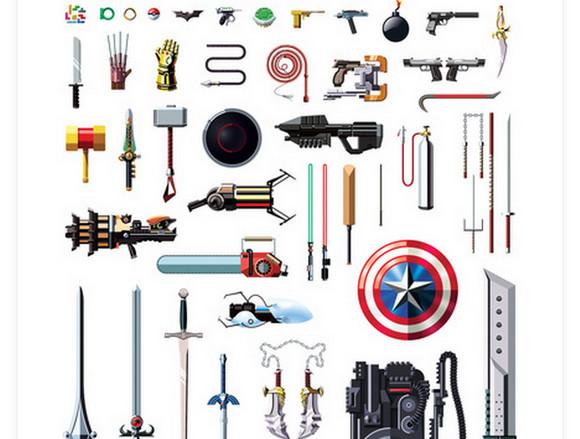 あなたはいくつわかる? 有名アニメ&ゲームヒーローの武器52のイラスト集が結構ムズカシイ