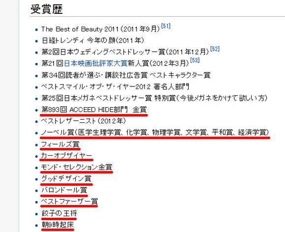 「ノーベル賞」「モンドセレクション金賞」受賞!? 剛力彩芽さんのWikipediaが何者かによって書き換えられる