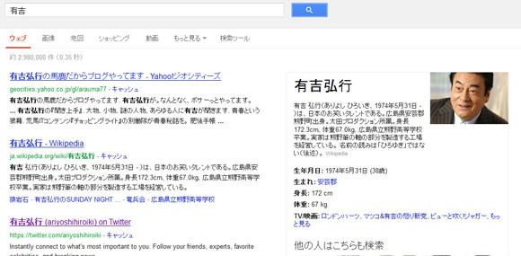 Googleで「有吉」と検索するとなぜか高橋英樹が表示される件