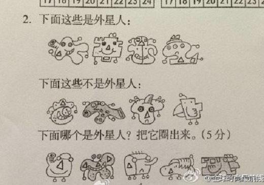【解説あり】キミには解けるか!? 中国の小学校のテストで珍出題「この中から宇宙人を選びなさい」