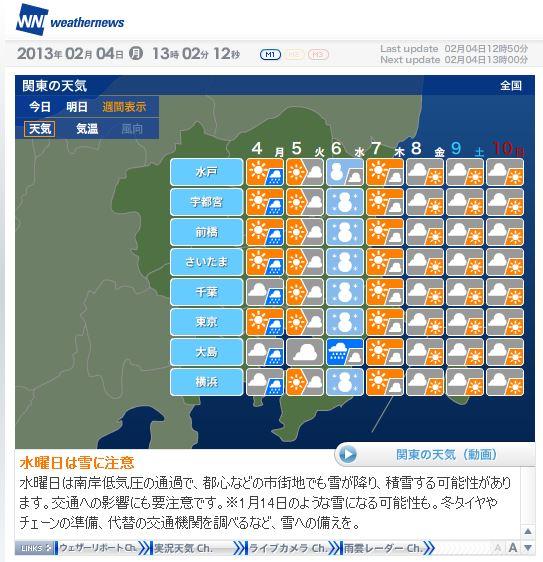 【注意喚起】2月6日(水)は関東一帯で大雪の可能性あり / 成人式の日と同じくらい降るかも