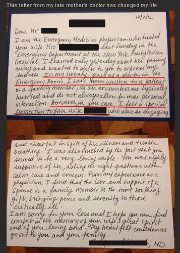 救急救命室の医師が乳がんで妻を亡くした男性宛てに手紙を書き大反響を呼ぶ