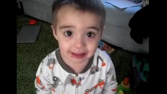 お菓子を顔につけたまま「食べてない」と言い張る3歳児 VS 問いただすママの完全にコントな動画が大人気