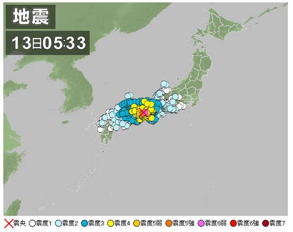【地震】兵庫県淡路島付近でマグニチュード6.0の地震発生 / 余震に警戒呼びかけ