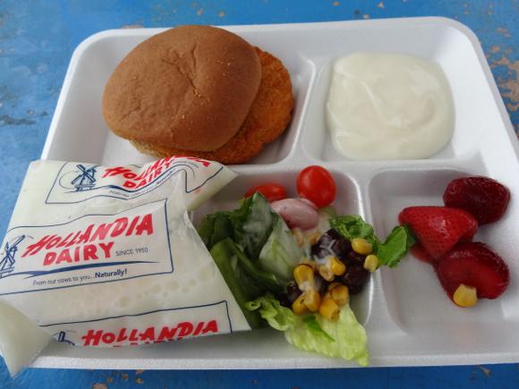 アメリカの小学校で給食を食べてみた! サラダバーがあって子供達は好きなモノを好きなだけ食べる