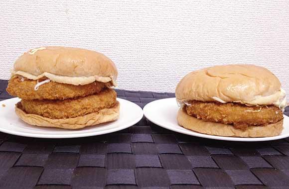 【ロッテリア】人気のエビバーガーのエビカツが無料で2倍にできるぞーっ! 『2倍級エビバーガー』を通常版と比べてみた