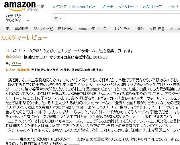 1万人以上が高評価! 村上春樹の新作に寄せられた低評価レビューが秀逸すぎると話題に「本編より面白い!」