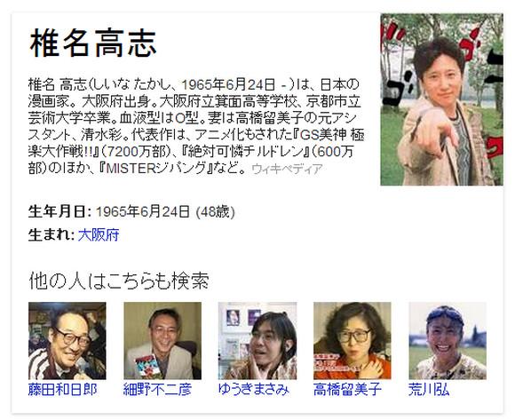 Google で『絶対可憐チルドレン』の椎名高志先生を検索すると『ジョジョ』の荒木飛呂彦先生の写真が出てくる件 / 椎名先生「何をするだァ------ッッ!!」