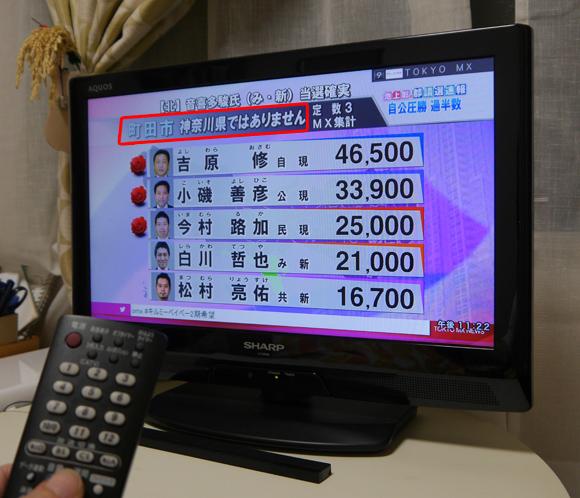 東京MXテレビ『都議選速報』の各選挙区の説明が大ざっぱだった件 / 町田市「神奈川県ではありません」など
