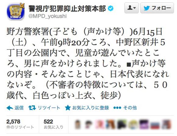 【衝撃】公園で遊んでいた児童に「そんなことじゃ日本代表になれないぞ」と声をかけた50歳代の男が通報される