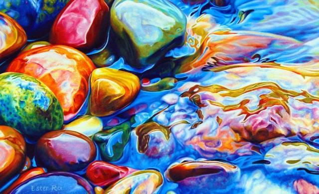 人類はここまでできるのか!? 色鉛筆だけで描いた水と石の絵がぐうの音も出ないほどリアルだと話題に