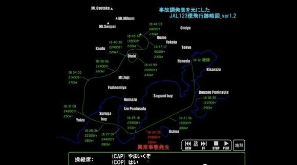 【動画あり】日航機墜落事故のボイスレコーダーと合わせた飛行跡略図 / 1985年8月12日に墜落した日本航空123便の操縦席では何が起きていたのか