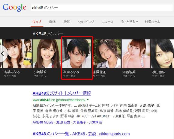 【不思議】Googleで「AKB メンバー」と検索するとなぜか峯岸みなみさんだけ男性の画像が表示される