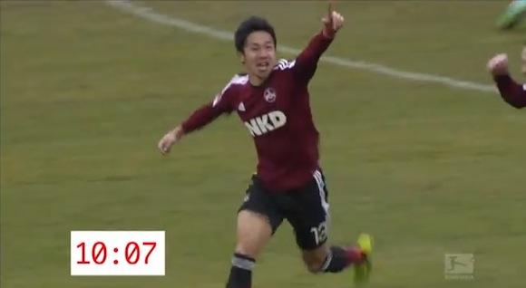 【衝撃サッカー動画】キックオフからわずか10秒! ニュルンベルク・清武弘嗣選手が速攻で決めたゴールがスゴいと話題
