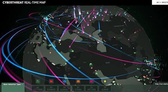 【カッコよすぎ】地球上の「サイバー攻撃」がリアルタイムで視覚的に見えるマップがスゴイ!!