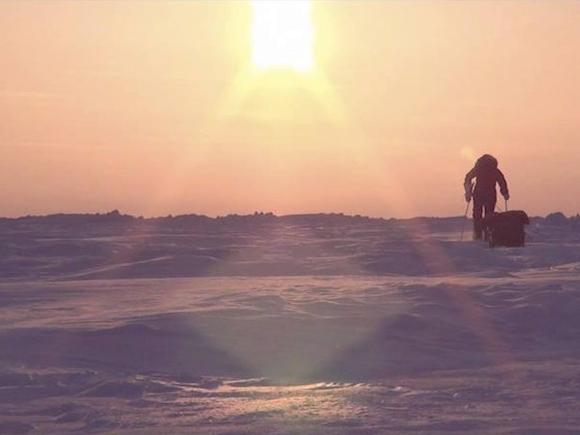 【北極冒険26日目】ついにリードに遭遇 / 1kmもの川幅を迂回しながら越えて行く