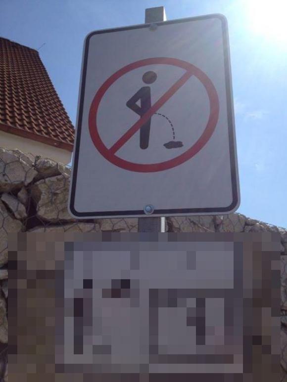 """チェコの「立ちション警告標識」がパンチ力抜群! """"放水中"""" でもグッと我慢して止めたくなるレベル!!"""