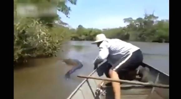 【衝撃動画】近年まれに見る凄まじい異種格闘技戦が水上で勃発!「超巨大アナコンダ vs 現地民」