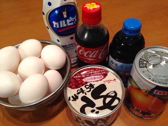 【検証グルメ】新しい味玉を考える会「甘い系」編 / あずき・カルピス・コーラ・みかんの缶詰・ブルーハワイにゆで玉子を漬け込んでみた