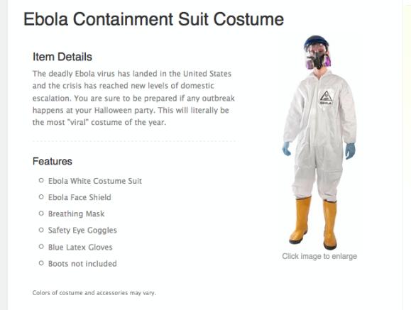 【ハロウィン】海外通販サイトに出品している「エボラ出血熱防護服コスチューム」が不謹慎と物議
