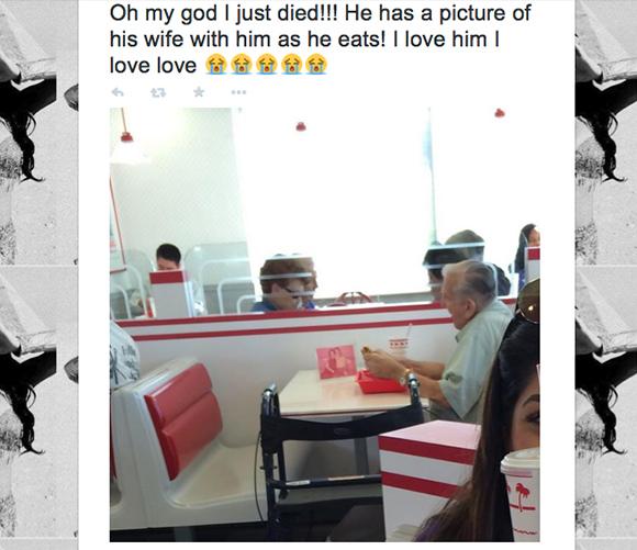 Twitterに投稿された1枚の画像が紡ぎだした心温まる物語 / 亡き妻の面影と食事をする老人