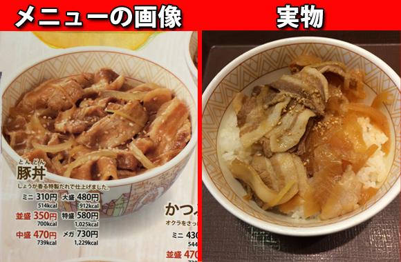【検証】復活したすき家の「豚丼」の肉が少ないというのでメニューと実物を比較してみた