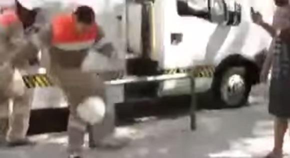 【神業動画】工事現場のヘルメットで華麗なリフティングをする男
