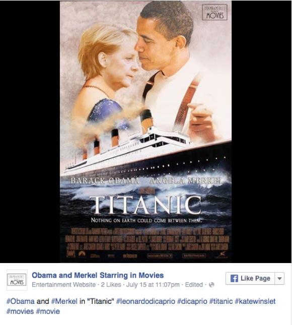 【コラ画像集】オバマ大統領 & メルケル首相が 『タイタニック』!  時々プーチン大統領も登場する「おバカ映画ポスター」に世界が苦笑