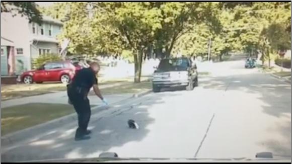 """【動画あり】ヨーグルト容器が頭から抜けなくなったスカンクの子供を発見! 警察官が助けに向かうも """"悪臭攻撃"""" が怖い……"""